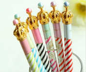 LEFV™ Set of 6 Lovely Cute Crown and Stripes Design Gel Ink Pen Korean Cartoon Roller Ball Pens Creative Stationery for Artist School Office Family Use