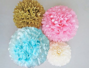 Light Blue, Pink, Antique Gold and Ivory Tissue Paper Poms Set of 4