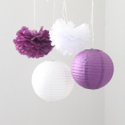 HoHoDeal 6 Pcs Mixed Plum Purple White Tissue Paper Pom Poms and Paper Lantern Wedding Birthday Bridal Shower Decoration