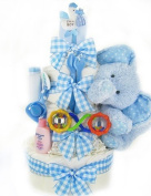 Gingham & Giggles Three Tier Nappy Cake - Boy by Cashmere Bunny
