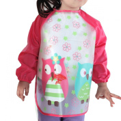 SOKDO Children Kids Waterproof Long-sleeved Smock Apron Bib for Eating and Painting Red Owl