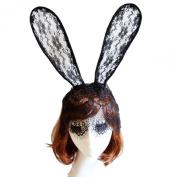 Susenstone® Bunny Long Ear Lace Bob Veil Mask Headband Headwrap Halloween Party