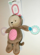 Child of Mine Soft Girl Monkey Plush Stroller Toy with Teething Ring and Rattle