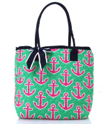 NGIL Navy Hot Pink Anchor Print Quilted Tote