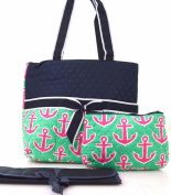 NGIL Navy Hot Pink Anchor Print Quilted Nappy Bag