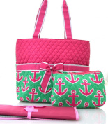 NGIL Hot Pink Anchor Print Quilted Nappy Bag