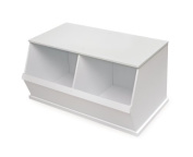 Badger Basket Company Two Bin Storage Cubby, White by Badger Basket