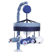 Just Born Retro Ride Musical Mobile, Blue and Grey Cars/planes, Navy/light Blue