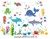 Baby Nursery Kids Children's Wall Decals: Sea Ocean Marine Life Animals Wildlife Themed 130cm tall X 170cm wide (Inches)