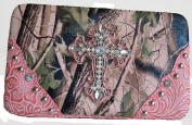 Western Pink Green Camo Mossy Oak Rhinestone Cross Chequebook Wallet Clutch Purse Wallet Cowgirl Studded