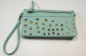 Light Blue Studded Wristlet/Crossbody Handbag