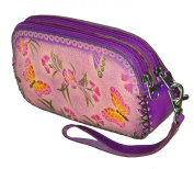 Genuine Leather Wristlet Cell Phone/change Purse, Two Zipper for Separate Rooms. Flowers & Butterflies Pattern.