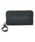 MKF Collection Designer Embossed Double Zip Wallet with Wristlet Strap