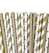 Heart Love 75 Pack Paper Drinking Straws - Gold Star Stripe and Chevron