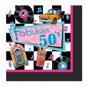 Club Pack of 192 Multi-colour Fabulous 50's Theme 2-Ply Disposable Party Luncheon Napkins