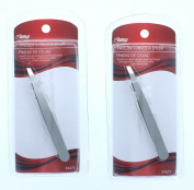 Lot of 2 Stainless Steel Slanted Tip Tweezers Precision Eyebrow Plucking