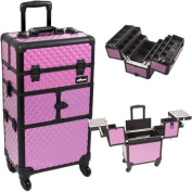 30.5 inch 360 Degree Rotating Wheels Rolling 2 in 1 Purple Diamond Textured Travel Professional Makeup Trolley w/ Extendable Trays by MyGift