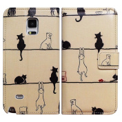 Bfun Packing Bcov Black Cat White Cat Leather Wallet Cover Case For for for for for for for for for for for Samsung Galaxy S6