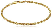 Gold Plated Sterling Silver 060-Gauge Diamond-Cut Rope Chain Link Bracelet, 20cm