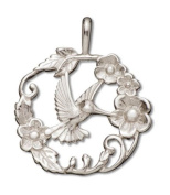 Sterling Silver Polished Hummingbird and Flowers Charm Pendant