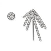 Sterling Silver CZ Bar & Single Stud Ear Crawler Earrings