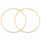 14K Yellow Gold 45mm x 1.5mm Endless Round Hoop Earrings
