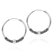 Classic Tribal Bali Style Sterling Silver 30mm Hoop Earrings