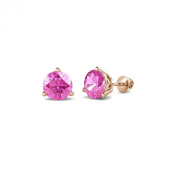 Pink Sapphire Three Prong Solitaire Stud Earrings 1.05 ct tw in 14K Rose Gold