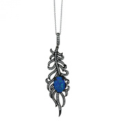Sterling Silver Black Rhodium Plated Blue Opal Leaf Chain Pendant Necklace