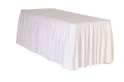 6.4m x 70cm Polyester Pleated Table Skirts White