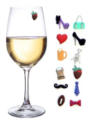 His and Hers Magnetic Wine Glass Charms & Markers Set of 12