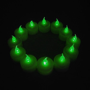 12-Packs Green, LED Plastic Tea Tealight Candles Lamp Flameless Shine Anniversary Wedding Party Restaurant Atmosphere Decoration Battery Operated