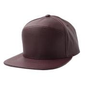 Burgundy-NEW Plain Flat Bill Faux Leather Snapback Panel Hat Baseball Cap Hip Hop Adjustable