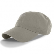 Grey-100% Cotton Adjustable Baseball Cap Hat Polo Style Washed Plain Solid Visor