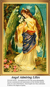 Angel Admiring Lilies, Angels Counted Cross Stitch Pattern