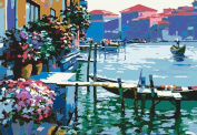Greek Art Paintworks Paint Colour By Number Kits,Gentle Harbour,30cm by 41cm