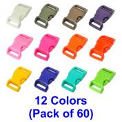 LIHAO 60 PCS 12 Colours 1.6cm Plastic Quick Side Release Buckle