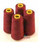 4 Large Cones (3000 yards each) of Polyester threads for Sewing Quilting Serger Maroon Colour from ThreadNanny
