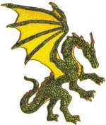 Green Fantasy Dragon Embroidered Iron On Patch