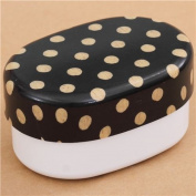 black and white Polka Dot lacquer Bento Box lunch box from Japan