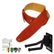 ChromaCast JB-WHSTRAP-BTOR Guitar Wall Hanger, Picks and Burnt Orange Suede Strap Bundle