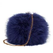 Zarapack Women's Faux Fur Fluffy Feather Round Clutch Shoulder Bag