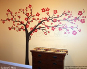 PopDecors Wall Decals & Stickers - Floral Super Big Tree(290cm W) - Girls Lady Flower Wall Art for Bedroom Living Room