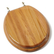 Comfort Seats C1B1R-17BR Designer Solid Wood Round Toilet Seat with Anti-microbial and Brass Hinges, Oak