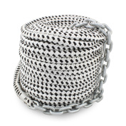 Norestar 1.3cm Braided Nylon Anchor Rope with 0.6cm HT G4 Chain for Boat Windlass, Prespliced