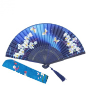 OMyTea® Hand Held Silk Folding Fans with Bamboo Frame - With a Fabric Sleeve for Protection for Gifts - 100% Handmade Oriental Chinese / Japanese Vintage Retro Style - For Women Ladys Girls