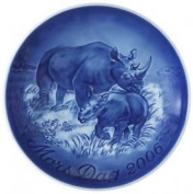 Bing & Grondahl Mother's Day Plate 2006 - Black Rhino with Calf