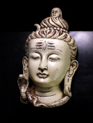 Hand Carved Meditating God Shiva Head Resin Wall Hanging Statue Size 19cm x 8.9cm