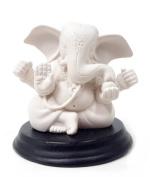 White Blessing Statue Ganesh Ganpati Elephant Hindu God Ganesha 7.6cm