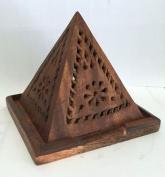Vrinda® Wood Pyramid Shaped Carving Incense/cone Burner